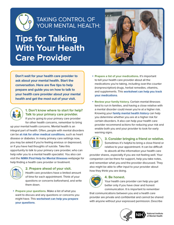 cover of NIMH publication Tips for Taking Control of Your Mental Health: Talking With Your Health Care Provider